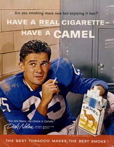 1960 Camel Cigarettes Ad Football Player Dick Nolan Photo Retro Tobacco Vintage Advertising Art Bar Wall Decor Print by AdVintageCom on Etsy https://www.etsy.com/listing/229239009/1960-camel-cigarettes-ad-football-player