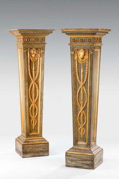 "Pair of George III period Pedestals Ca1780 England. 59""H x 17""Sq."