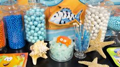 An assortment of colorful candy resembles rocks and shells under the sea, especially rock candy! #BirthdayExpress #BubbleGuppies