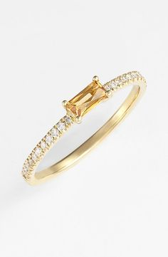 Micro Pave 18K Gold Half Around White Diamond Baguette Ring / Citrine Onyx Amethyst Baguette Engagement Ring / Thin Wedding Band
