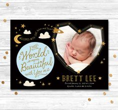Birth Announcement Baby Boy Announcement by MotifVisuals on Etsy