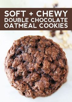 Soft and Chewy Double Chocolate Oatmeal Cookies-these cookies are amazing!