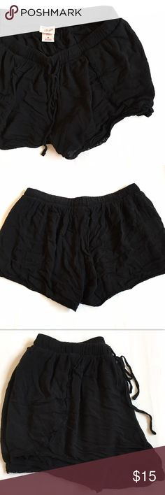 Mossimo Crochet Trimmed Black Shorts, Sz M Boho black shorts with tiny crochet trim. Perfect for the beach or for bed. True to size- bought a size too big for me so I'm going back for the next size down! Mossimo Supply Co. Shorts