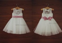 Ivory Lace Flower girl Dress Baby Girl Dress with Navy Blue/Champagne/Pink Sash Bow Keyhole Back Dress
