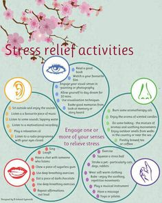 Stress relief activities as related to the 5 senses