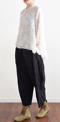 d271b26bb8047 black cotton pants plus size vintage harem pants Linen Dresses