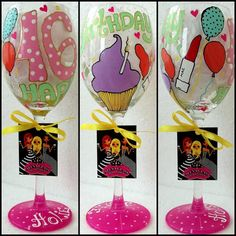 Personalized Hand Painted Wine Glass goblet  Flute by AlenaShop, $32.00