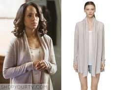 Olivia Pope (Kerry Washington) wears this beige cashmere cardigan in this week's episode of Scandal. It is the Club Monaco Cristina Cashmere Wrap in Gray. Buy it HERE