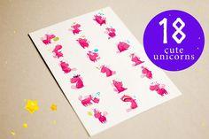 Unicorn emoticons + bonus by katflare | store on @creativemarket