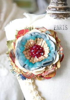 Fabric Flower Brooch - Red and Turquoise Blue