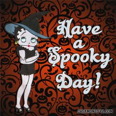 Have a Spooky Day! -More Betty Boop Graphics & Greetings http://bettybooppicturesarchive.blogspot.com/ & https://www.facebook.com/bettybooppictures  Betty Boop witch with pumpkins and bats #Halloween