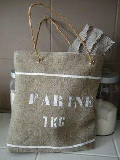 """Sac en lin """"farine"""" / Linen bag """"flour"""""""