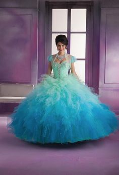 Vizcaya 89018 Ombre Ruffle Quinceanera Dress - French Novelty