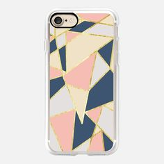 Elegant Pink, Blue, Beige, & White Girly Geometric Triangles Pattern- Gold Edition - Classic Grip Case