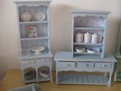 Painted by me Small Bookshelf, Bookshelves, Dollhouse Miniatures, Buffet, Dresser, Farmhouse, Cabinet, Closet, Furniture