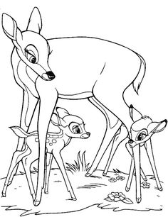Family Bambi Coloring Page