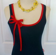 Embellished Tank Top in Navy with Red Ribbon por RaspberryMarket Diy Clothing, Custom Clothes, Clothing Patterns, Shirt Refashion, Diy Shirt, Clothes Crafts, Sewing Clothes, Corset Sewing Pattern, Simple Gowns