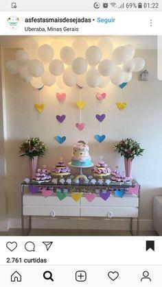 Ideas Cake Ideas Winter Birthday Parties For 2019 - Geburtstag Pink Birthday, Rainbow Birthday, Unicorn Birthday Parties, Birthday Cake, Winter Birthday Parties, Birthday Party Decorations, Baby Shower Decorations, Cloud Party, Deco Buffet