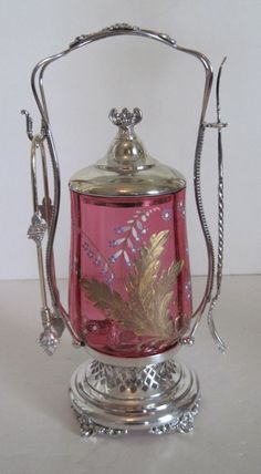 BEAUTIFUL ANTIQUE VICTORIAN SILVER PICKLE CASTOR - CRANBERRY GLASS  #ForbesSilverCo