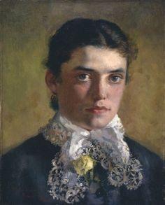 Self Portrait 1880 - Rhoda Holmes Nicholls - (English: 1854 - 1930)