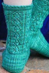 """Ceilidh Socks, by Anne Podlesak, feature 2 Celtic lace patterns.   (The Gaelic """"ceilidh"""" is pronounced """"kay-leigh."""")  Purchase pattern."""