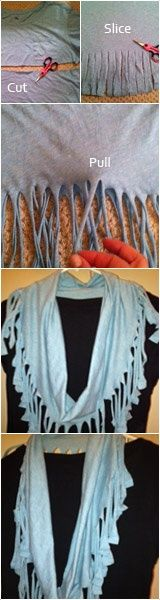 DIY tshirt scarf summer-crafts. So cute for summer and winter!