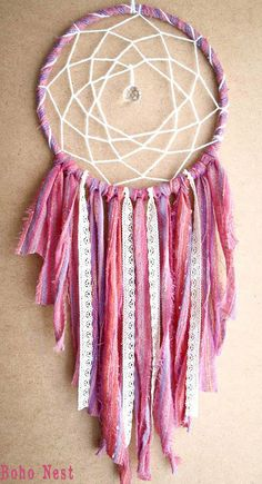 Large Dream Catcher - Wonderful Dreams - With Cystal Prism, Laces and Pure Rose, Pink and Purple Textiles - Boho Home Decor, Nursery Mobile