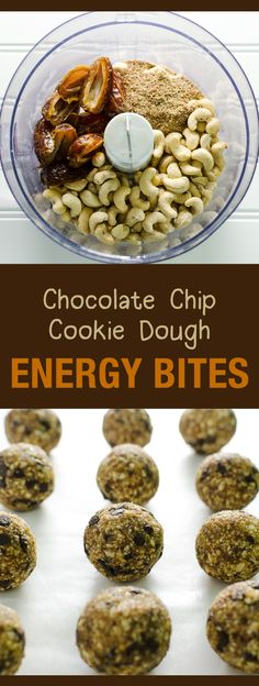 Chocolate Chip Cookie Dough Energy Bites - a healthy snack or dessert - easy recipe - vegan and gluten free. Pin this clean eating energy bite recipe to make later this week. Healthy Vegan Snacks, Vegan Treats, Healthy Sweets, Vegan Recipes Easy, Raw Food Recipes, Snack Recipes, Cooking Recipes, Dessert Healthy, Easy Vegan Snack