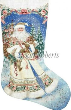 "Magic Santa  Artist: Liz Goodrick-Dillon Item Number: TTAXS332 Mesh Size: 18 Mesh Measurement: 13"" x 21"""