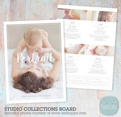 Advertise your studio Packages and Pricing with this sweet board. It is perfect for using as a flyer, postcard or just up on your Facebook page.