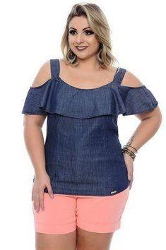 Blusa plus size nira Plus Size Jeans, Plus Size Blouses, Plus Size Dresses, Plus Size Outfits, Big Girl Fashion, Curvy Fashion, Plus Size Fashion, Dress Neck Designs, Blouse Designs