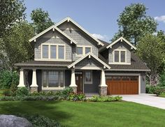 <ul>   <li>Wood shakes and a wrap-around front porch give this Shingle style home plan a big personality.</li>   <li>The front-facing study has windows on two sides to bring in light.</li>   <li>Behind the study, the main living area has an open concept floor plan that makes the space feel larger.</li>   <li>The laundry room off the garage has a window sink and a bench to rest groceries or for pulling on boots.</li>   &...