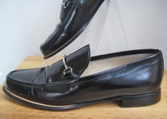 GUCCI sz 6, Black Shiny Leather Loafer Flats Expensive Elegant $79 on ebay