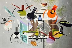 Hanging at the Feeder ~!~  Charley Harper