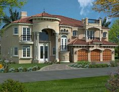 Florida Style House Plans - 6116 Square Foot Home , 2 Story, 5 Bedroom and 5 Bath, 3 Garage Stalls by Monster House Plans - Plan 37-186