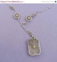 On Sale 3 Dats Art Deco 14K White Gold Diamond by SarahAndJohns, $748.00