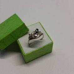 185 mm Ring Silber 925 Emaille weiß schwarz grün