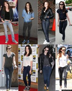 """Kristen Stewart her style hasn't changed one bit.  Twilight"""" star has been sporting her typical jeans and T-shirt look since 2005, accessorizing her casual attire with sneakers and the occasional leather jacket and sunglasses. Not to mention, she almost always ties her shirt to the side, flashing a bit of tummy as she goes about her day-to-day activities."""