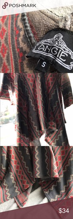 Angie Aztec Print Sweater❤NWOT Asymmetrical Hem❤Beautiful Drape❤Grey and Tomatoe Red❤Grey Ribbon along V-Neckline❤New never worn❤❤100%Cotton Sweater❤ Angie Sweaters V-Necks