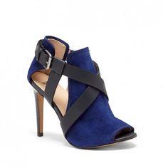 Bright Navy Leather 3 3/4 Inch Peep Toe Heel | Prosper by Joes Jeans