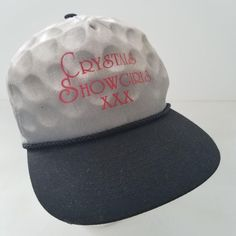 Crystals Showgirls XXX snapback trucker hat ~ Adjustable snapback ~ Slightly dingy sweatband, see all photos for details ~ * All of our hats are shipped in a box, to ensure that they arrive safely Hats For Sale, Showgirls, Snapback Cap, Golf Ball, Baseball Hats, Crystals, Best Deals, Men, Club