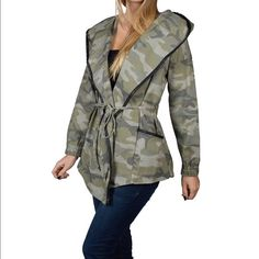 Coming soon CAMOUFLAGE COAT WITH DRAW STRING CAMOUFLAGE SHAWL COLLARED COAT WITH DRAW STRING price is firm Jackets & Coats