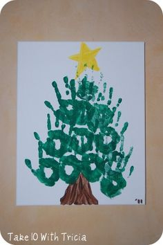 Tree and trunk are my 3 year old's hands and the star is my 5 month olds hand. 16 by 20 canvas from Walmart. Handprint Christmas Tree, Preschool Christmas, Diy For Kids, Crafts For Kids, Winter Fun, Christmas Carol, Christmas Inspiration, Christmas Ideas, Cool Baby Stuff