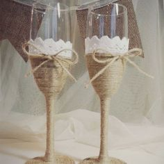 Rustic champagne Glasses with rope ribbon and lace, Wedding glass, burlap theme flute glasses