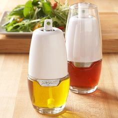 Calories can easily add up, which is why these Tabletop Oil Misters are great. Instead of dousing a salad in oil, lightly spray for a thin, even coating of dressing. Also great for cooking, grilling, and baking.
