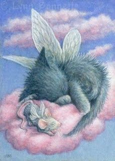 Art by Lynn Bonnette.Darling Angel Cat and Angel Mouse on a Cloud! My baby Girl, Bates I Love Cats, Crazy Cats, Cute Cats, Souvenir Animal, Animals And Pets, Cute Animals, Image Chat, Here Kitty Kitty, Sleepy Kitty