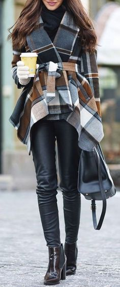 #winter #fashion / tartan coat + leather