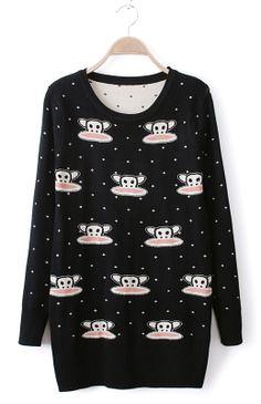 Black Monkey Pattern Polka Dot Sweater Dress
