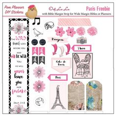 FREEBIE matches Paris Printable Planner Kit in Pink & Black #pomplanner Poodles, Macaroons, Eiffel Tower, Coffee, Cameo, French Word Art, Washi tape, menus, icons, Happy Planner and Erin Condren OVER 400 Stickers!