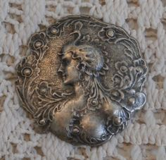 Vintage Art Nouveau Style Lady Head Craft Piece, For Crafting, Ornate Beautiful